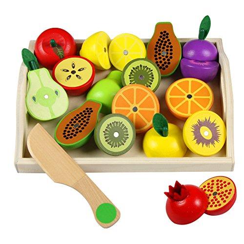 Frutas Juguete Para Cortar Verduras Fruta Madera Magnético Cocinita Juguete Juegos Madera Para Niños, 20 Piezas