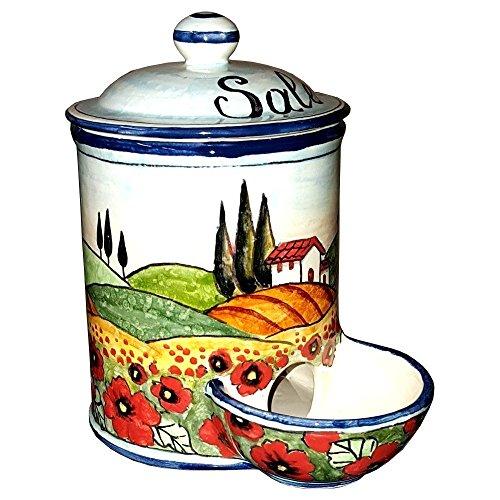 CERAMICHE D'ARTE PARRINI- Ceramica italiana artistica , barattolo sale a