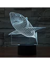 3D Illusion Lamp , elecfan® 7 Light Color Changeable Lamp USB Touch Button LED 3D Optical Illusion Table Light - Shark Panel Model