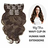 Best Full Hair Remy Hair Extensions - 18inch , #2(Dark Brown) : SHOWJARLLY Wavy Clip Review