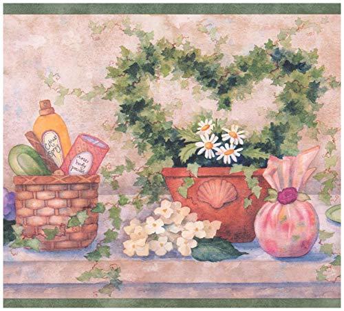 Chesapeake Wand-Rand - Vintage Parfüm,Seife Lotion Kerze Blumen in Töpfen Beige Braun Tapete Border Retro Design,Vorpastiertes Rolle 15 ft x 8 in. 8