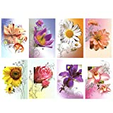 50 Grußkarten Blumen ohne Text Klappkarten mit 50 Umschlägen 8 Motive Neutrale Glückwunschkarten 99-1920