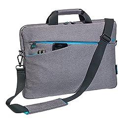 PEDEA Notebooktasche Fashion für 15,6 Zoll (39,6cm) mit Zubehörfach, Schultergurt, grau