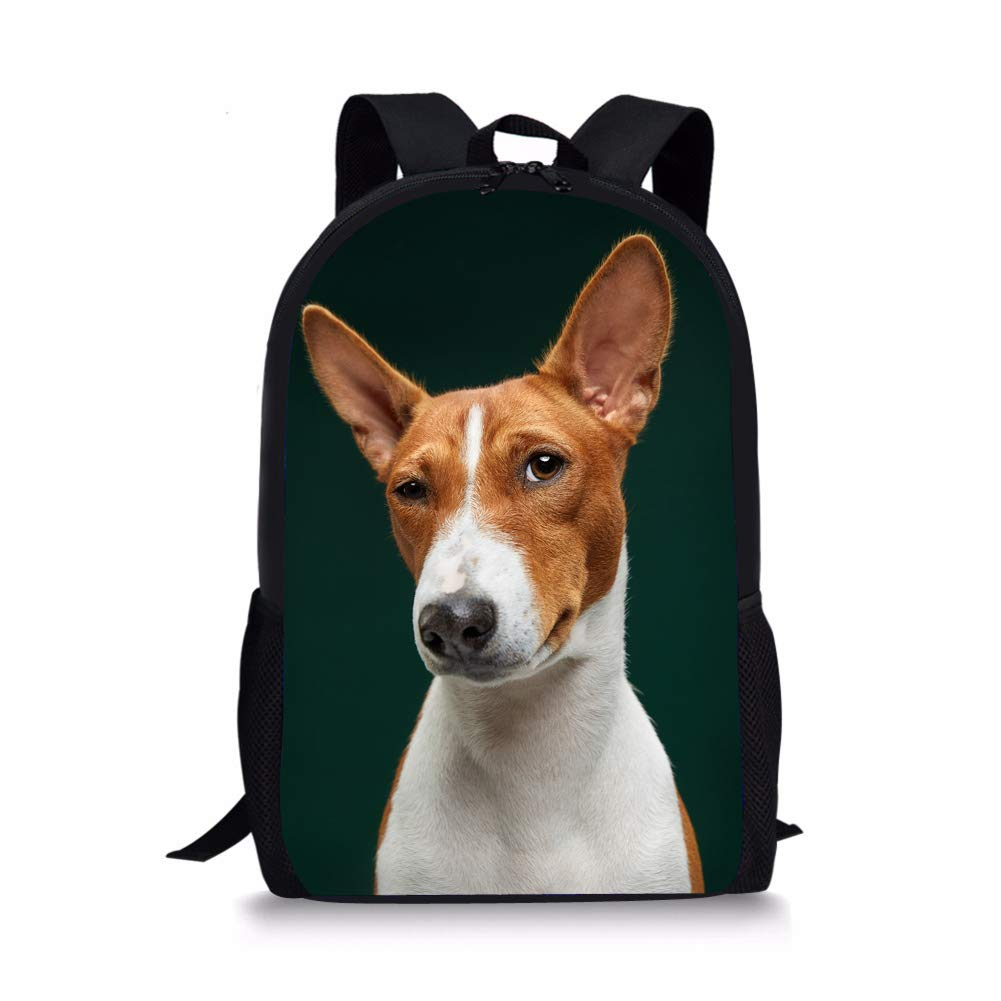 Nopersonality Kids Backpack Boys Basenji Dog Back Pack Children's School Bagpacks Shoulder Book Bag with Side Pockets…