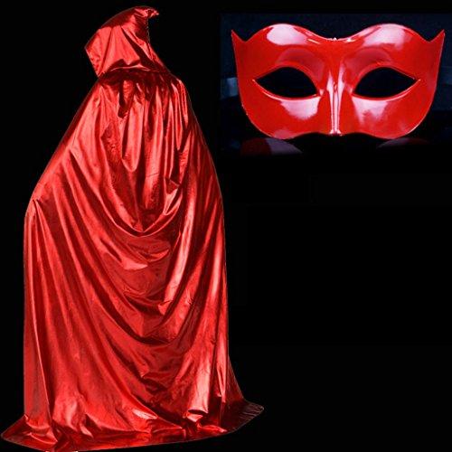 Halloween Umhang und Maske Set Streifen Cap COS Performance Dress Up Kleidung ( Farbe : Rot , größe : 150cm )