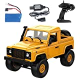 Fcostume Front-LED-Licht 1:12 4WD RC Auto Off-Road Militär Rock Crawler Monster Truck (Gelb)