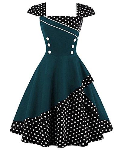 ZAFUL Robe Vintage années 1950 's Style Rockabilly Swing Pin Up Sans Manches Robe Rétro Robe de Soirée Cocktaile Grande Taille Col Carré - Vert 2XL