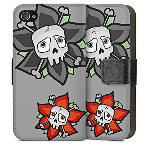 Apple iPhone 5s Housse Étui Protection Coque Fleurs Fleurs Tête de mort Sideflip Sac