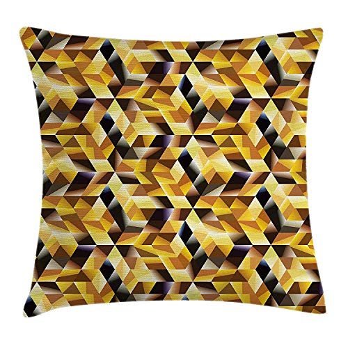 Abstract Throw Pillow Cushion Cover, Cubes and Blocks Form Abstract Style Geometric Digital Graphic Art Pattern, Decorative Square Accent Pillow Case, 18 X 18 Inches, Black Yellow Brown -