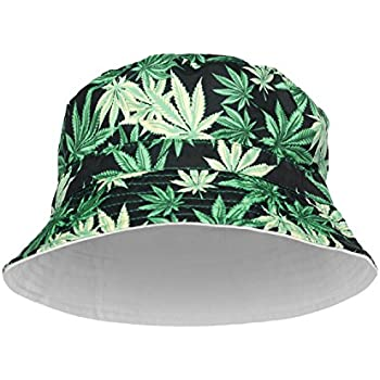e30ce028b26f9e Bucket hat Full Print Bandana Fishing Bush Summer Holiday Hat Fashion Cap  Party (One Size Fits All, Black Weed)