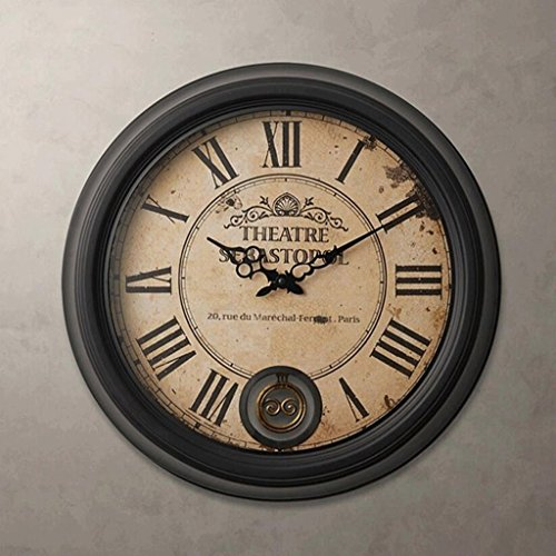 Bonne action Horloge murale Européenne Rétro Roman Horloge Murale En Fer Forgé Mode Maison Salon Creative Américain Horloge Horloge Pendule Balançoire