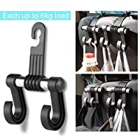 KOOABY Car Back Front Seat Headrest Hanger Holder Hooks for Purse Grocery Bag Cloth Coat Heavy Duty Purse Hooks Fit Universal Vehicle Trunk SUV Storage Organizer