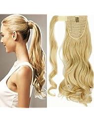 17 Queue de Cheval Postiche Extension de Cheveux Ondulé - Wrap Around Ponytail Clip in Hair Extensions - Doré...