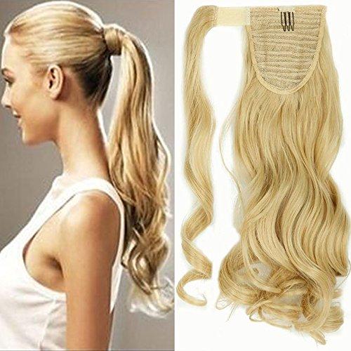 Coda capelli extension bionde coda di cavallo clip in hair ricci mossi lunghi 43cm ponytail extensions parrucchino wrap around - biondo dorato mix biondo chiarissimo