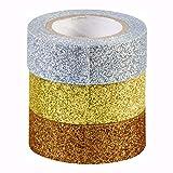 Deko Tape - Washi tape - Glitter Tape Kupfer - Gold - Silber - glänzend, 3 Farben im Set