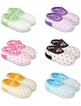 GHB 6 x Calzini per Bambini Calzini Antiscivolo Cotone 6 Colori per 8 - 38 Mesi Neonati e Bambini - 6 Paia Colorati...