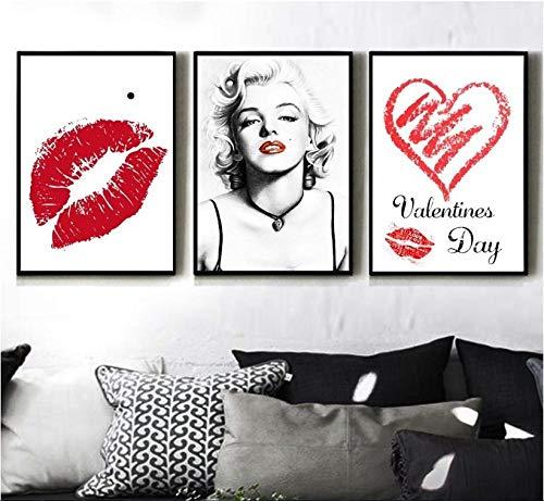 Leinwand Gemälde Leinwanddrucke Druck Auf Leinwand Kunstwerk Wandkunst Ölgemälde Marilyn Monroe Lippendruck Für Zuhause Büro Wohnzimmer Home Dekoration 50x70cmx3pcs(kein Rahmen)