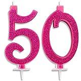 Candeline Maxi 50 Anni per Torta Festa Compleanno 50 Anni | Decorazioni Candele Auguri Anniversario Torta 50 | Festa a Tema | Altezza 13 CM Fucsia Glitter
