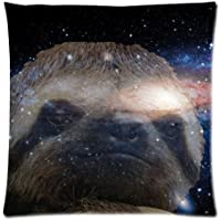 case YLIOWRC Sloth Nebula Galaxy Space Universe Cushion Case - Square Pillowcase Cushion Case Throw Pillow Cover with Invisible Zipper Closure - 18x18 Inches, Twin-Sided Print