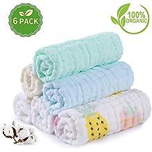 AiKiddo - Toallas suaves de muselina para bebés, 6 capas, varias funciones, tamaño de 26 x 26 cm, paquete de 6