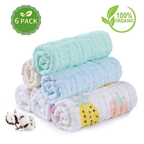 Baby Musselin Waschlappen Set AiKiddo Neugeborenen weichen Bade Tuch Mehrzweck 6 Schicht natürlichen Baby Waschlappen für Baby Mädchen und Jungen 26x26 cm 6 Pack, gedruckten Muster sortiert (Bio-burp Tücher)