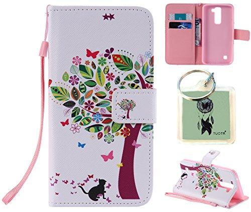 Preisvergleich Produktbild für LG K7 PU Wallet Case Schutz Hülle für LG K7 - Cover Flip Tasche mit Kartenfach in Buch Stil mit Kartenfach Standfunktion Magnetverschluss und Hand Wrist + Schlüsselanhänger (J6)