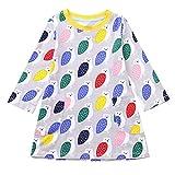 Mädchen langärmelige Cartoon Animal Print Dress Kinder Kinderkleidung