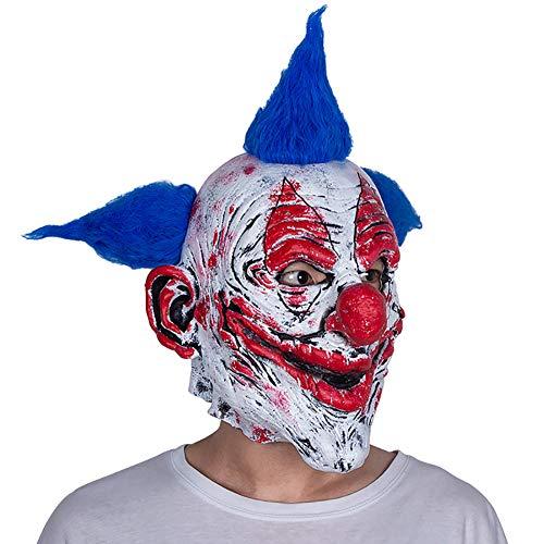 Wan mask Blaue Haarclown-Latexmaske passend für Maskerade-Party, Kostüm-Party, Karneval, Weihnachten, Ostern, Halloween (Namen Für Halloween Kostüm Parteien)