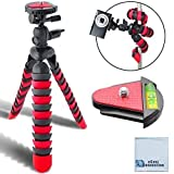 12 Inch Flexible Tripod w/ Flexible Wrappable Disc Legs Red & Black Quick Release Plate and Bubble Level + Cleaning Cloth
