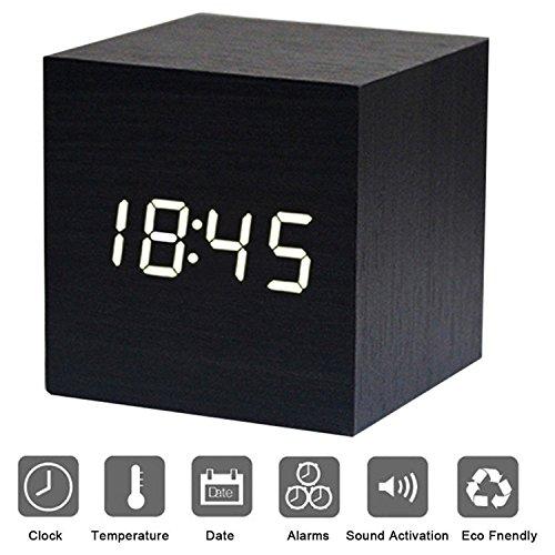 LED Licht minimalistischen Mini Cube mit Datum und Temperatur Sound Control Schreibtisch Wecker für Reisen, Kinder Schlafzimmer, Zuhause, Büro-Schwarz (Schwarz-schlafzimmer-schreibtisch)