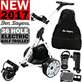 """NEW 2016"" BEN SAYERS WHITE ELECTRIC GOLF TROLLEY + 36 HOLE BATTERY"