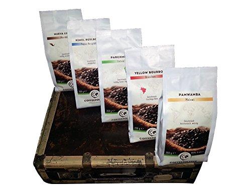 Coffeepolitan Kaffee Geschenk-Set - Kaffeebohnen aus 5 Kontinenten - ganze Bohne 5x250g, eine exklusive Geschenkidee, ideal auch als Geburtstagsgeschenk oder Probier-Set
