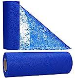 AmaCasa Vlies Tischband Tischläufer Flower Vlies Hochzeit Kommunion 23cm/25m Rolle (Blau, Vlies)
