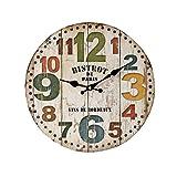 YOUJIA Reloj redondo de pared, Vintage Reloj de Madera para Sala de Estar, Habitaciones, Cocina, Hogar Décor (Figura #2, 35cm)