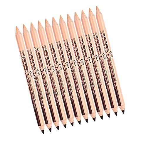 MagiDeal 12pcs Crayon à Sourcils Eyeliner Stylo Correcteur - Marron foncé + Couleur de la peau