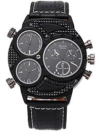 f7d141491fe9 GL Hombres Sport Outdoor cuarzo reloj de piel correa Oversize Multi fundido  horario sub-quadrante