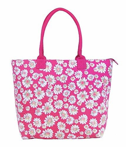 Da donna grande Borsa Shopper Borsa da spiaggia in tela a righe leggero Borsa a tracolla Holiday multicolore Polka Dot Black large Daisy Flower Pink