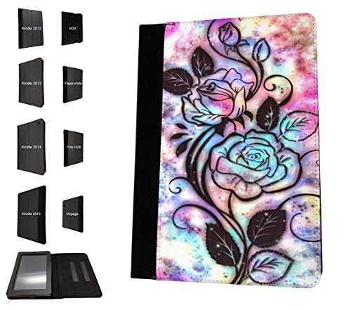 003388 - Rose silhouette colourful background Design Amazon Kindle Fire HD 8 (2017) TPU Leder Brieftasche Hülle Flip Cover Book Wallet Stand halter Case (Kindle Fire Background)