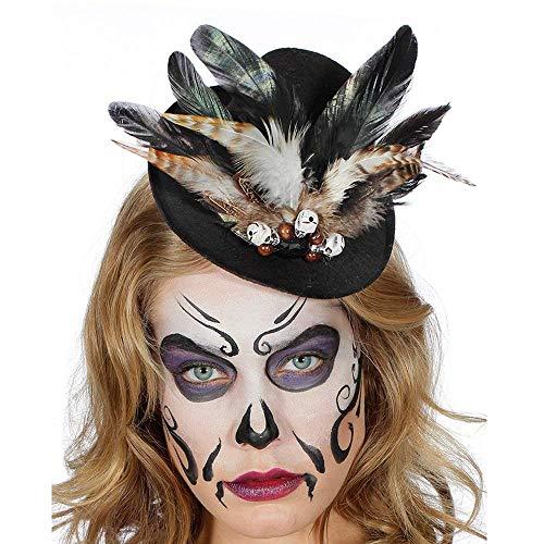 PARTY DISCOUNT Voodoo Steampunk Halloween Mini Hut mit Federn und Totenköpfen