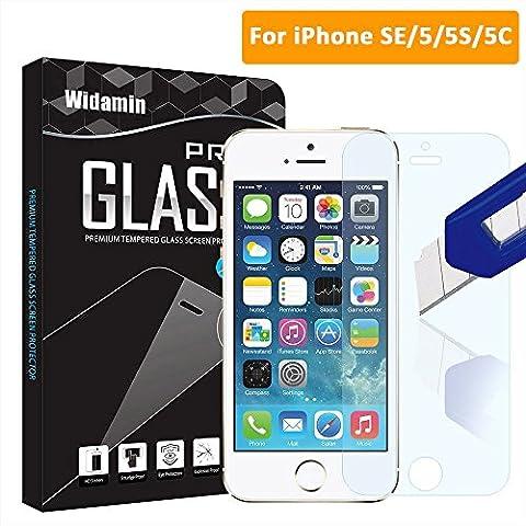 iPhone 5 5s 5c SE Premium Tempered Glass Screen Protector Skin Cover Free bubbles Anti-Scratch Anti-Fingerprint (iPhone 5 5 s 5c