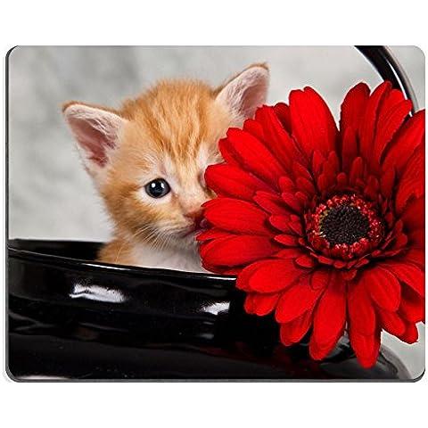 Mousepads gattino nero, Bollitore con fiore rosso funny nascondere l'ID by 19135208 Liili personalizzato Mousepads resistenza alle macchie Collector-Kit da cucina da tavolo Drink personalizzato resistenza alle macchie Collector-Kit da cucina, da tavolo