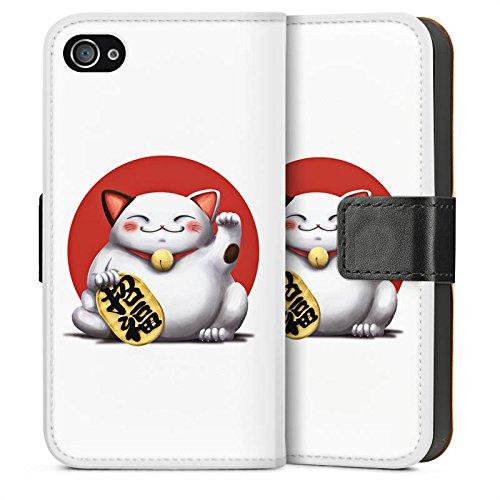 Apple iPhone 4 Housse Étui Silicone Coque Protection Kawaii Chat Japon Sideflip Sac