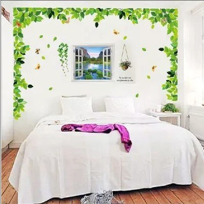 Floral Wandpaste Aus Klebrigen Grünen Blättern Frisches Wohnzimmer Schlafzimmer Sofa Tv Dekorative Hintergrund Wandaufkleber 60 x 90cm 3 Sätze von grünen Blättern und falschen Fenstern