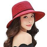 SIGGI faltbarer roter Sommerhut mit Sonnen Shade Strand Sonnenhut für Damen breite Krempe 56-59 CM