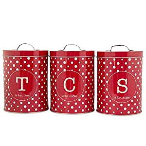Tea Coffee Sugar Canister Set Storage Containers - Red Polka Dots Retro Design