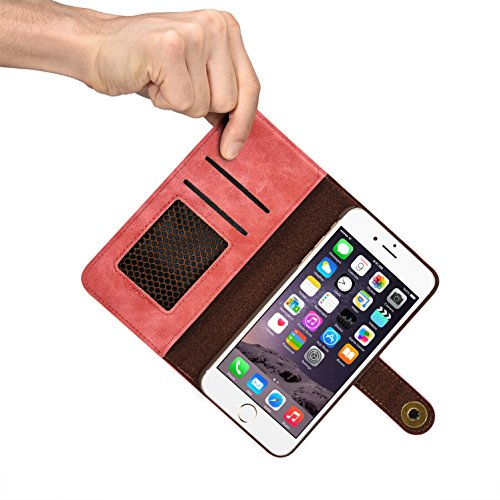 "iPhone 5Fall, ticase Premium Leder Magnetisch BRIEFTASCHE CASE Metall Button Sony Flip Cover [Abnehmbare] [ID & Kreditkarte Halter] für iPhone 5 rose iPhone 7 (2016) 4.7"" rose"