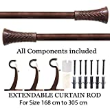Deco Essential Brown Wood Taper Iron Curtain Rod, 66- 120-Inches, Brown