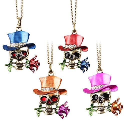 4Pcs Halloween-Halskette, Gotische Charme-Schädel-Skelett-Halsketten Für Männer/Frauen, Magier Rose Anhänger, - Skelett Kostüm Kontakte