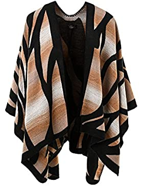Ferand – Poncho Elegante Abrigo Frente Abierto en Color Puro para Invierno - Mujer