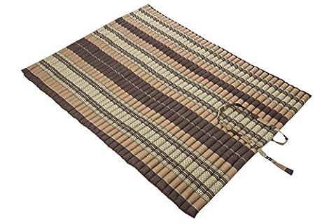 Thaikissen XXL Rollmatte ca. 200 x 150, Thai Kapok Matte, Rollmatte für Massage, als Liegewiese oder zum Spielen, braun, Handelsturm Kissen